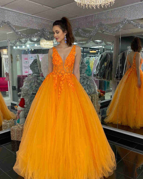 Gorgeous V Neck Orange Lace Floral Long Prom Dress, Orange Lace Formal Dress, Orange Evening Dress