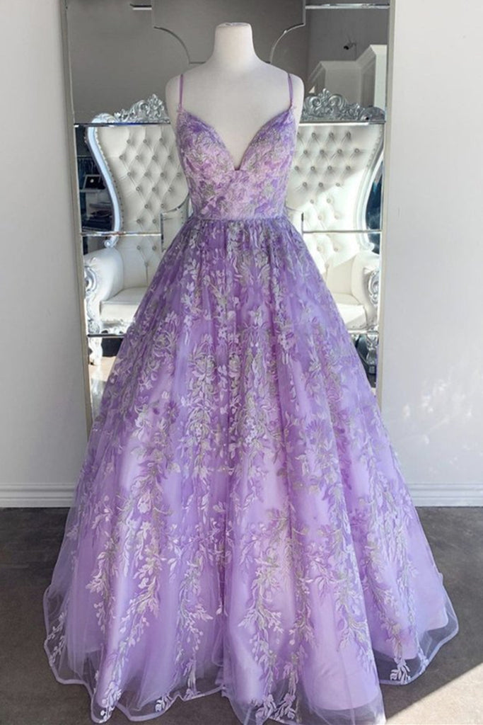 Gorgeous V Neck Thin Straps Purple Long Prom Dress, V Neck Purple Formal Evening Dress, Purple Ball Gown