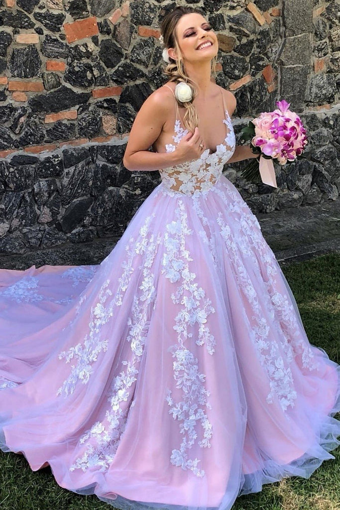 Gorgeous V Neck Backless White Lace Floral Lilac Long Prom Dress, Lilac Lace Formal Evening Dress, Lilac Floral Wedding Dress