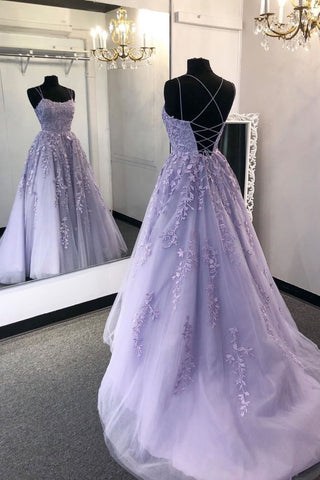 Gorgeous Backless Purple Lace Long Prom Dress 2020, Open Back Purple Formal Dress, Purple Lace Evening Dress, Purple Ball Gown