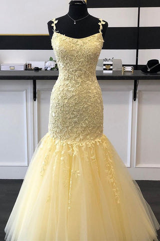Gorgeous Mermaid Yellow Lace Long Prom Dress, Mermaid Yellow Formal Dress, Yellow Lace Evening Dress