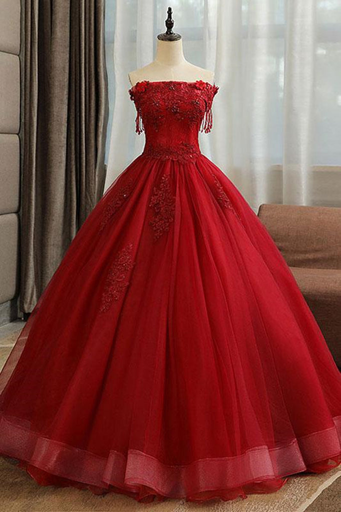 Gorgeous Strapless Burgundy Lace Beaded Long Prom Dress, Lace Burgundy Formal Evening Dress, Burgundy Lace Ball Gown
