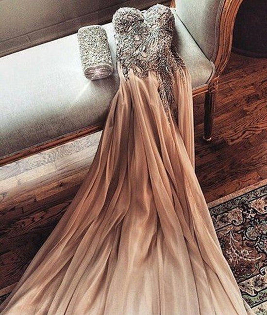 Gorgeous Sweetheart Neck Beaded Chiffon Champagne Prom Dresses, Champagne Formal Dresses