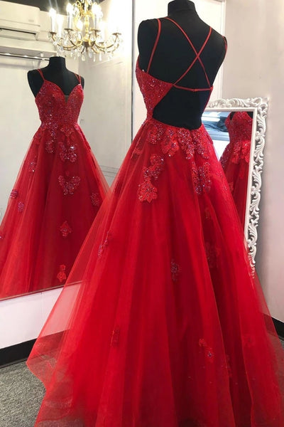 Gorgeous V Neck Backless Red Lace Prom Dress 2020, Backless Red Lace Formal Dress, Red Lace Evening Dress, Red Ball Gown