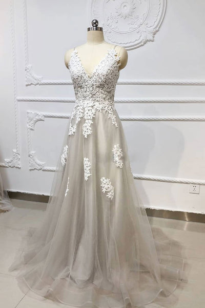 Gray A Line V Neck Lace Appliques Tulle Long Prom Dresses, Lace Gray Formal Dresses, Evening Dresses 2019