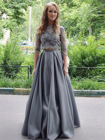 Gray Half Sleeves Two Pieces Lace Top Satin Long Prom Dresses, Two Pieces Gray Formal Dresses, Gray Lace Evening Dresses