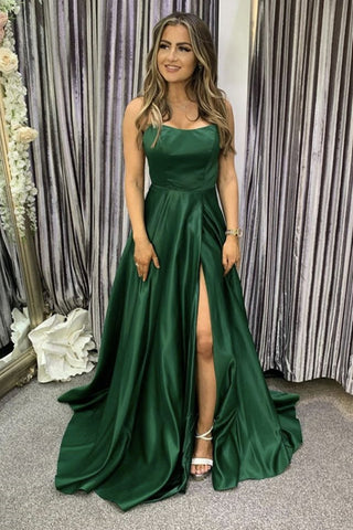Green Satin Backless Long Prom Dress with High Slit, Open Back Green Formal Evening Dress