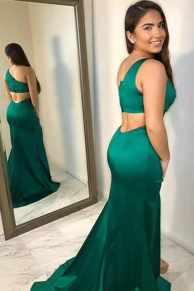 Green Satin One Shoulder Mermaid Long Prom Dress with Slit, Mermaid Green Formal Dress, Green Evening Dress