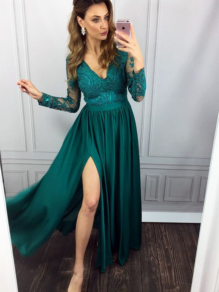 Green A Line Long Sleeves Lace Long Prom Dresses with Leg Slit, Long Sleeves Green Formal Dresses Lace Evening Dresses