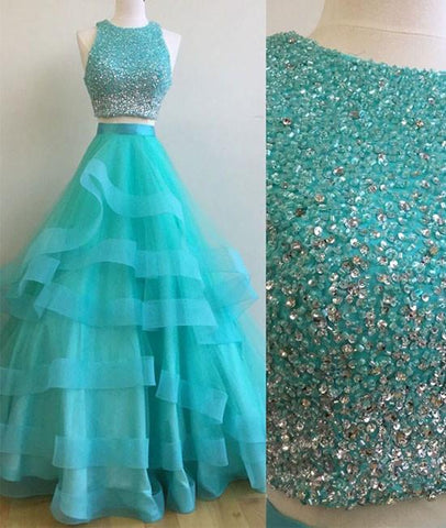 Green Round Neck 2 Pieces Beaded Sequins Tulle Long Prom Dress, Green 2 Pieces Formal Dress, Green Evening Dress