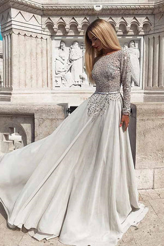 Silver Grey Sequins Long Sleeves Backless Prom Dress, Long Sleeves Silver Grey Formal Dress, Silver Grey Evening Dress