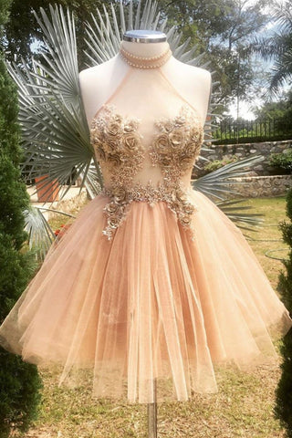 Halter Neck Backless Champagne 3D Floral Short Prom Dress, Backless Champagne Formal Graduation Homecoming Dress