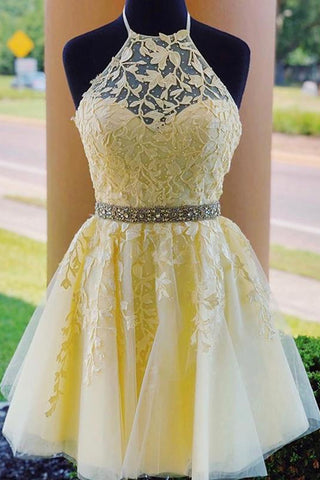 Halter Neck Backless Short Yellow Lace Prom Dress, Yellow Lace Formal Graduation Homecoming Dress