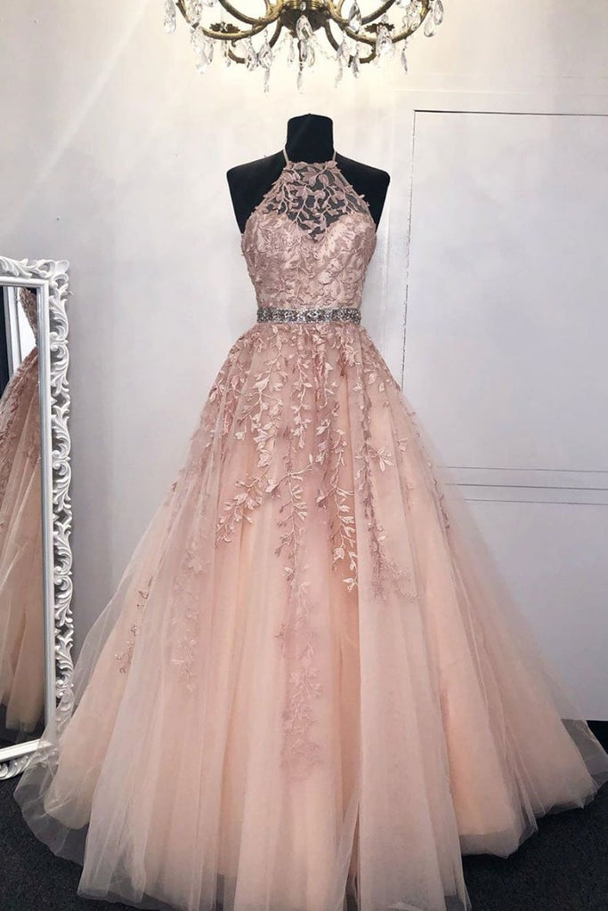 Halter Neck Pink Lace Long Prom Dress with Belt, Pink Lace Formal Dress, Pink Evening Dress
