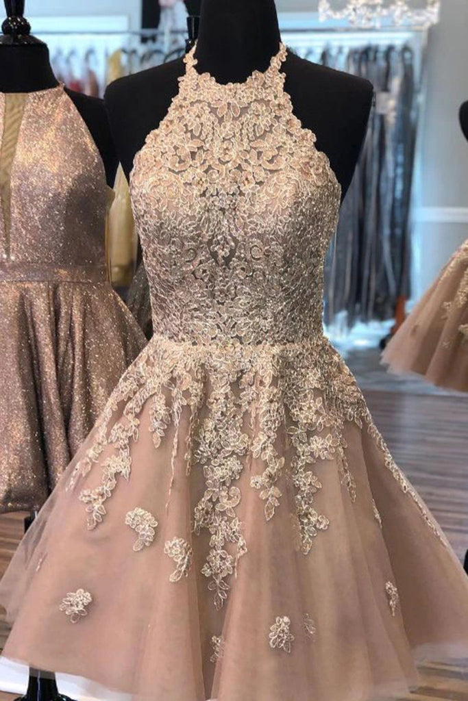 Halter Neck Short Champagne Lace Prom Dress, Champagne Lace Formal Graduation Homecoming Dress