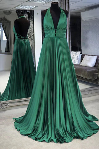 Halter V Neck Backless Emerald Green Satin Long Prom Dress, Backless Emerald Green Formal Graduation Evening Dress