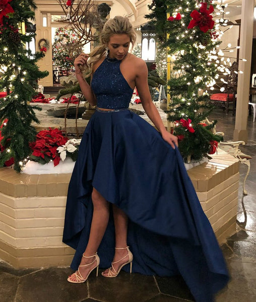 Halter Neck 2 Pieces High Low Backless Navy Blue Prom Dress, Navy Blue High Low Formal Dress, Navy Blue Evening Dress