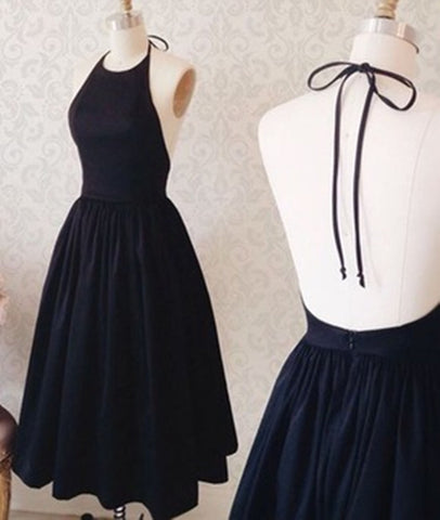 Halter Neck Backless Black Short Prom Dress, Black Homecoming Dress