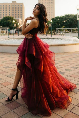 High Low Burgundy Tulle Long Prom Dress, Wine Red High Low Formal Evening Dress