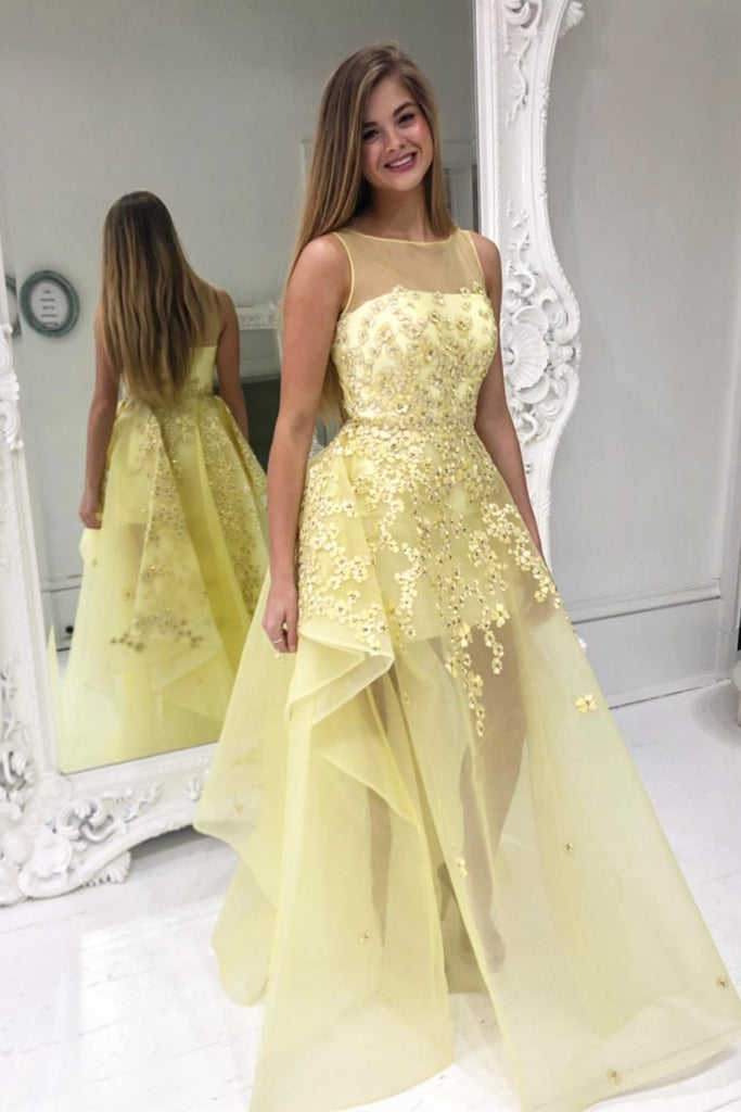 High Low Round Neck Yellow Floral Lace Long Prom Dress, Yellow Lace Formal Dress, Yellow Evening Dress