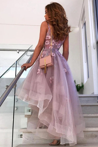 High Low V Neck Appliques Purple Lace Prom Dress, High Low Purple Lace Formal Graduation Homecoming Dress