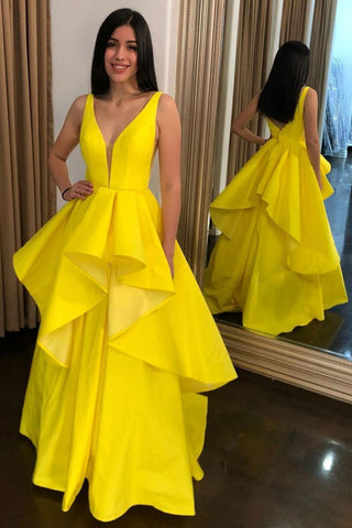 High Low V Neck Layered Yellow Satin Long Prom Dress, High Low Yellow Formal Dress, Yellow Evening Dress
