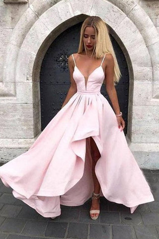 High Low V Neck Pink Satin Prom Dress, V Neck Pink Formal Graduation Evening Dress
