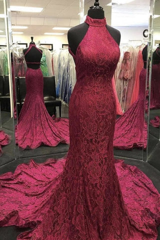 High Neck Backless Burgundy Lace long Prom Dress, Long Burgundy Lace Formal Evening Dress, Burgundy Ball Gown
