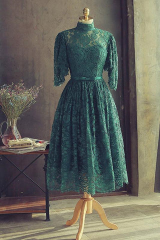 High Neck Half Sleeves Green Lace Prom Dress, Green Lace Formal Graduation Homecoming Dress