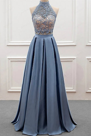 High Neck Two Pieces Blue Lace Long Prom Dress, 2 Pieces Blue Lace Formal Dress, Blue Evening Dress