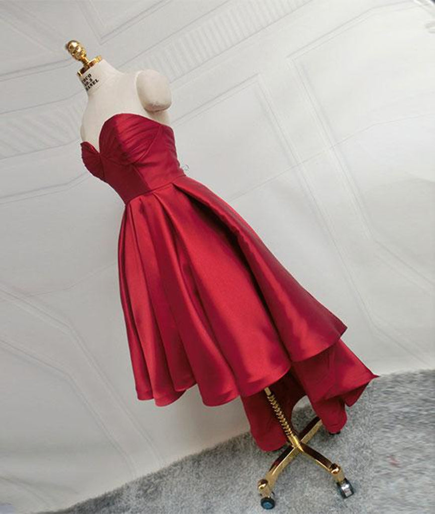 80deb9847 ... High Low Sweetheart Neck Strapless Backless Satin Red Prom Dresses, Red  Graduation Dresses, Red ...