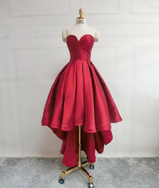 High Low Sweetheart Neck Strapless Backless Satin Red Prom Dresses, Red Graduation Dresses, Red Backless Formal Evening Dresses