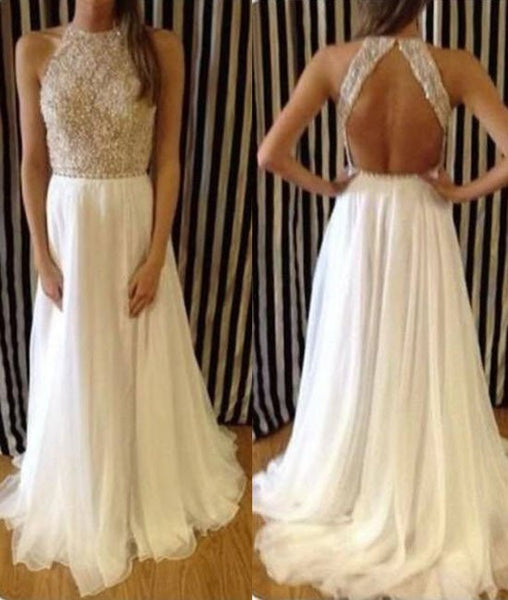 High Neck Crystal Beaded White Chiffon Backless Long Prom Dresses, Evening Dresses