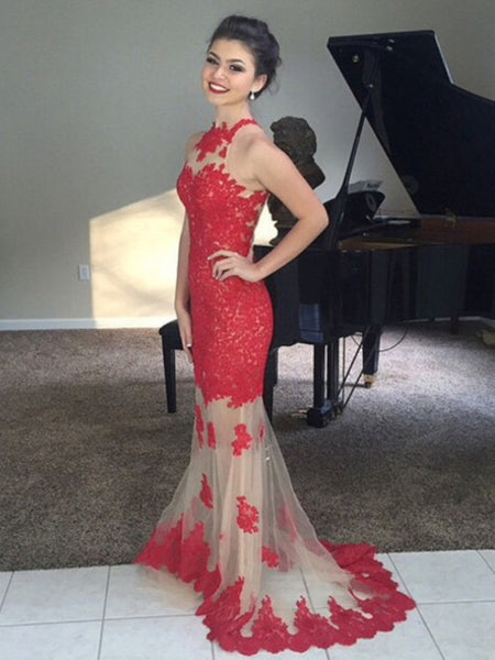 High Neck Mermaid Sleeveless Appliques Lace Long Prom Dresses, Mermaid Formal Dresses, Evening Dresses