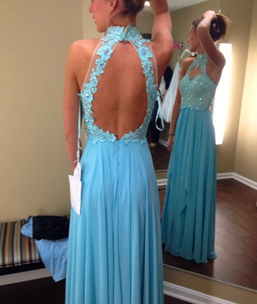 High Neck Open Back Beaded Light Blue Prom Dresses, Beaded Light Blue Evening Dresses