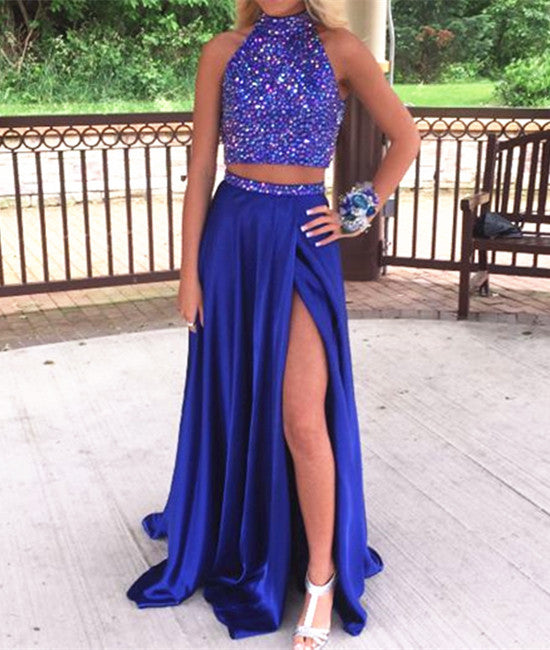 High Neck Two Pieces Sequin Long Blue Prom Dresses Two Pieces Blue