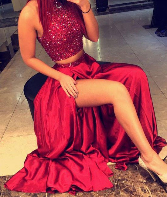 High Neck Two Pieces Sequin Long Red Prom Dresses, Two Pieces Red Formal Dresses, Sequin Evening Dresses