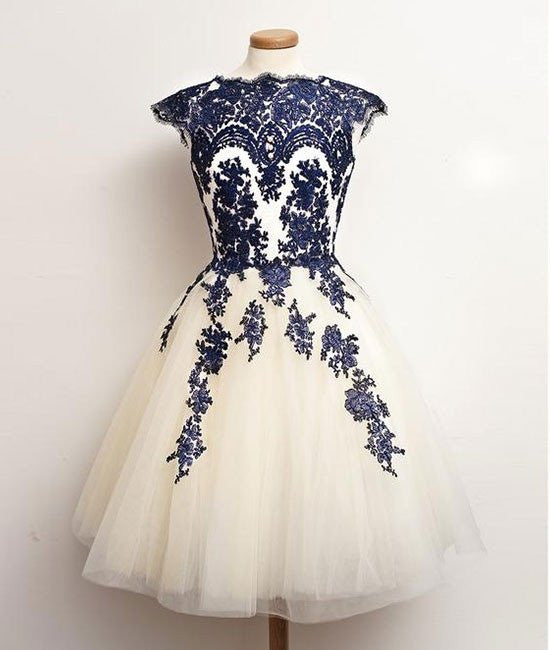 White Tulle Short Navy Blue Lace  Prom Dresses, Short Blue Lace Homecoming Dresses