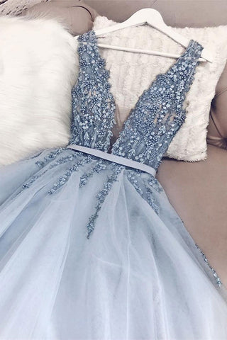 Light Blue A Line V Neck Backless Beaded Top Tulle Long Prom Dress, Backless Light Blue Formal Dresses, Evening Dresses