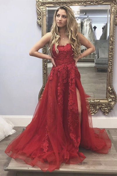 Long Burgundy Lace Floral Prom Dress with High Slit, Burgundy Lace Floral Formal Graduation Evening Dress