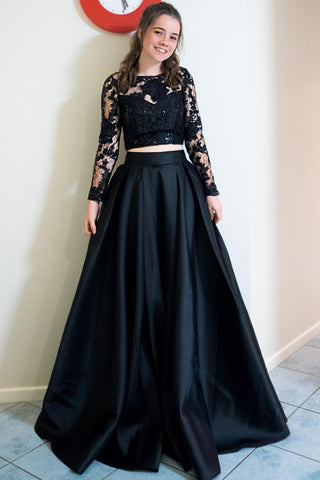 Long Sleeves 2 Pieces Black Lace Long Prom Dress, Long Sleeves Black Lace Formal Dress, Two Piece Black Lace Evening Dress