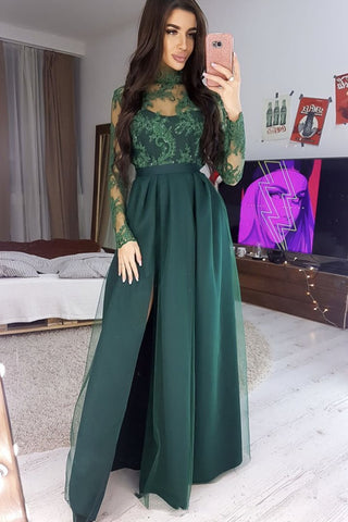 Long Sleeves High Neck Green Lace Long Prom Dress, Long Sleeves Green Formal Dress, Green Lace Evening Dress