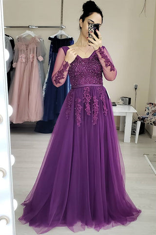 Long Sleeves Purple Lace Long Prom Dress, Purple Lace Formal Graduation Evening Dress