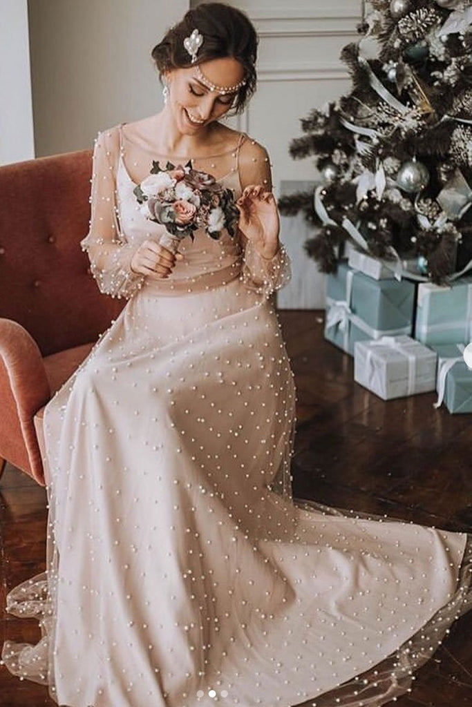 Long Sleeves Round Neck Champagne Beaded Long Prom Dress, Long Sleeves Champagne Formal Dress, Champagne Evening Dress
