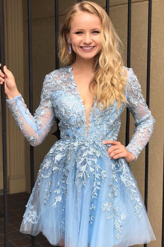 Long Sleeves V Neck Short Light Blue Lace Prom Dress, Light Blue Lace Formal Graduation Homecoming Dress