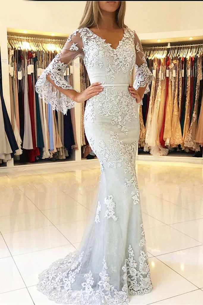 Long Bell Sleeves V Neck Mermaid Lace Long Prom Dresses, Long Sleeves Lace Formal Dresses, Mermaid Evening Dresses