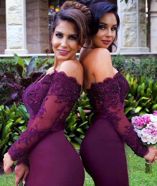 Long Sleeves Burgundy Lace Bridesmaid Dresses, Burgundy Prom Dresses, Long Sleeves Bridesmaid Dresses