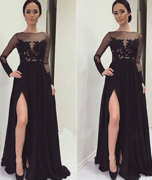 Long Sleeves Lace Black Prom Dresses, Lace Black Formal Dresses, Evening Dresses
