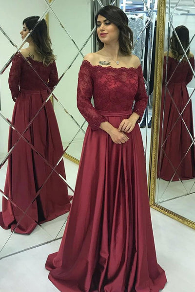 Long Sleeves Lace Burgundy Long Prom Dresses, Burgundy Lace Formal Dresses, Long Sleeves Burgundy Evening Dresses