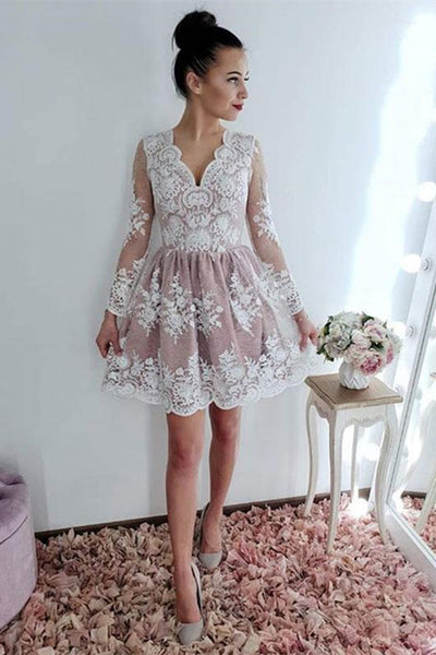 Long Sleeves Lace Pink Short Prom Dresses Homecoming Dresses, Long Sleeves Pink Formal Dresses, Lace Graduation Dresses, Pink Evening Dresses